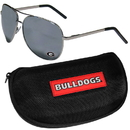 Siskiyou Buckle Georgia Bulldogs Aviator Sunglasses and Zippered Carrying Case, CASG5HC