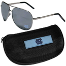 Siskiyou Buckle N. Carolina Tar Heels Aviator Sunglasses and Zippered Carrying Case, CASG9HC