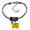 Siskiyou Buckle Michigan Wolverines Euro Bead Bracelet, CBBR36