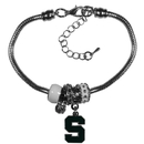 Siskiyou Buckle Michigan St. Spartans Euro Bead Bracelet, CBBR41