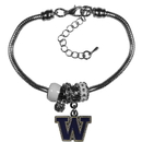 Siskiyou Buckle Washington Huskies Euro Bead Bracelet, CBBR49