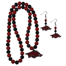 Siskiyou Buckle Arkansas Razorbacks Fan Bead Earrings and Necklace Set, CBDE12FBN