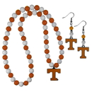Siskiyou Buckle Tennessee Volunteers Fan Bead Earrings and Necklace Set, CBDE25FBN