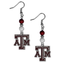 Siskiyou Buckle CBDE26 Texas A & M Aggies Fan Bead Dangle Earrings