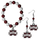 Siskiyou Buckle Mississippi St. Bulldogs Fan Bead Earrings and Bracelet Set, CBDE45BB
