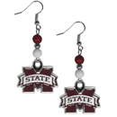 Siskiyou Buckle CBDE45 Mississippi St. Bulldogs  Fan Bead Dangle Earrings