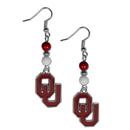 Siskiyou Buckle CBDE48 Oklahoma Sooners Fan Bead Dangle Earrings