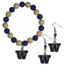 Siskiyou Buckle Washington Huskies Fan Bead Earrings and Bracelet Set, CBDE49BB