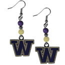Siskiyou Buckle CBDE49 Washington Huskies Fan Bead Dangle Earrings