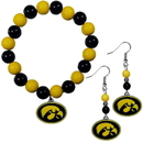 Siskiyou Buckle Iowa Hawkeyes Fan Bead Earrings and Bracelet Set, CBDE52BB