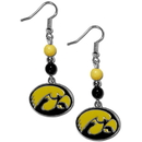 Siskiyou Buckle CBDE52 Iowa Hawkeyes Fan Bead Dangle Earrings