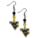 Siskiyou Buckle CBDE60 W. Virginia Mountaineers Fan Bead Dangle Earrings