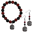 Siskiyou Buckle S. Carolina Gamecocks Fan Bead Earrings and Bracelet Set, CBDE63BB