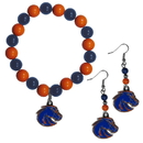 Siskiyou Buckle Boise St. Broncos Fan Bead Earrings and Bracelet Set, CBDE73BB