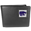Siskiyou Buckle CBI15 Kansas St. Wildcats Leather Bi-fold Wallet Packaged in Gift Box
