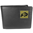 Siskiyou Buckle CBI57 Colorado Buffaloes Leather Bi-fold Wallet Packaged in Gift Box