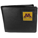 Siskiyou Buckle CBI77 Minnesota Golden Gophers Leather Bi-fold Wallet Packaged in Gift Box
