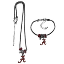 Siskiyou Buckle Alabama Crimson Tide Euro Bead Necklace and Bracelet Set, CBNK13BBR