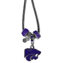 Siskiyou Buckle Kansas St. Wildcats Euro Bead Necklace, CBNK15