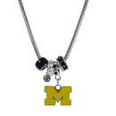 Siskiyou Buckle CBNK36 Michigan Wolverines Euro Bead Necklace