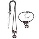 Siskiyou Buckle Mississippi St. Bulldogs Euro Bead Necklace and Bracelet Set, CBNK45BBR