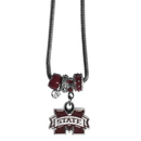 Siskiyou Buckle Mississippi St. Bulldogs Euro Bead Necklace, CBNK45
