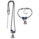 Siskiyou Buckle Arizona Wildcats Euro Bead Necklace and Bracelet Set, CBNK54BBR