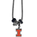 Siskiyou Buckle CBNK55 Illinois Fighting Illini Euro Bead Necklace