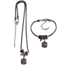 Siskiyou Buckle S. Carolina Gamecocks Euro Bead Necklace and Bracelet Set, CBNK63BBR