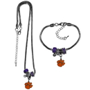 Siskiyou Buckle Clemson Tigers Euro Bead Necklace and Bracelet Set, CBNK69BBR