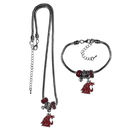 Siskiyou Buckle Washington St. Cougars Euro Bead Necklace and Bracelet Set, CBNK71BBR