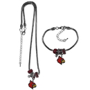 Siskiyou Buckle Louisville Cardinals Euro Bead Necklace and Bracelet Set, CBNK88BBR