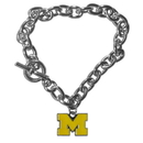 Siskiyou Buckle CCBR36 Michigan Wolverines Charm Chain Bracelet