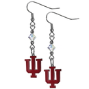 Siskiyou Buckle CCE39 Indiana Hoosiers Crystal Dangle Earrings
