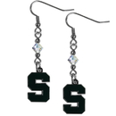 Siskiyou Buckle CCE41 Michigan St. Spartans Crystal Dangle Earrings