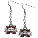 Siskiyou Buckle CCE45 Mississippi St. Bulldogs Crystal Dangle Earrings