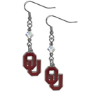 Siskiyou Buckle CCE48 Oklahoma Sooners Crystal Dangle Earrings