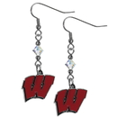 Siskiyou Buckle CCE51 Wisconsin Badgers Crystal Dangle Earrings