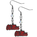Siskiyou Buckle CCE59 Mississippi Rebels Crystal Dangle Earrings