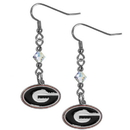 Siskiyou Buckle CCE5 Georgia Bulldogs Crystal Dangle Earrings