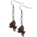 Siskiyou Buckle CCE68 Arizona St. Sun Devils Crystal Dangle Earrings