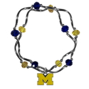 Siskiyou Buckle Michigan Wolverines Crystal Bead Bracelet, CCYB36