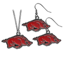 Siskiyou Buckle Arkansas Razorbacks Dangle Earrings and Chain Necklace Set, CDE12CN
