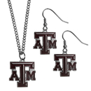 Siskiyou Buckle Texas A & M Aggies Dangle Earrings and Chain Necklace Set, CDE26CN