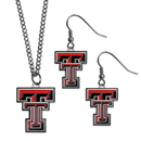 Siskiyou Buckle Texas Tech Raiders Dangle Earrings and Chain Necklace Set, CDE30CN