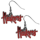 Siskiyou Buckle CDE3N Nebraska Cornhuskers Chrome Dangle Earrings