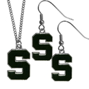 Siskiyou Buckle Michigan St. Spartans Dangle Earrings and Chain Necklace Set, CDE41CN