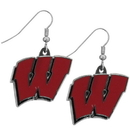 Siskiyou Buckle CDE51N Wisconsin Badgers Chrome Dangle Earrings