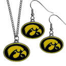 Siskiyou Buckle Iowa Hawkeyes Dangle Earrings and Chain Necklace Set, CDE52CN