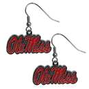 Siskiyou Buckle CDE59N Mississippi Rebels Chrome Dangle Earrings
